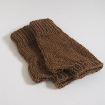 custom knit fingerless mittens-- the condyle wristwarmers in cocoa brown