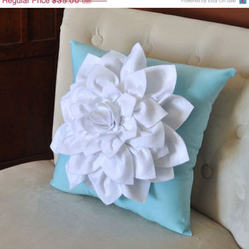 MOTHERS DAY SALE White Dahlia Felt Flower on Blue Pillow