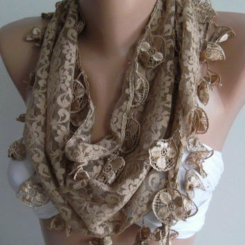 Caramel - Elegance  Shawl / Scarf with Lacy Edge