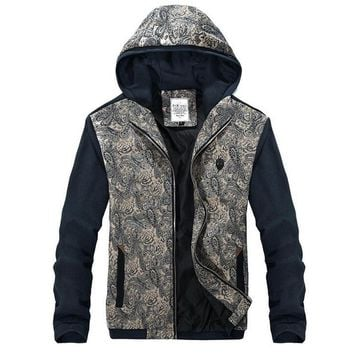 Men's Fashion Printed Hooded Jacket