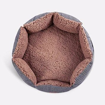 "Round Pet Bed For Cats & Small Dogs–Premium Cotton w/Sherpa Lining & Side Pocket 16""x16""x7"""
