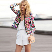 Hot Popular Women Floral Printed Floral Printed Ethnic Tribal Outerwear Jacket  _ 8393