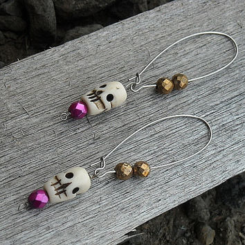 Day of the Dead Earrings, Day of the Dead Skull Earrings, Skull Earrings, Bone Earrings, Pink, Gold,
