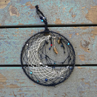 Black Dream Catcher - White Crescent Moon Dreamcatcher - Handmade - Space - Galaxy - Inspired-Gift Idea-One of a Kind Galatic Bedroom Decor