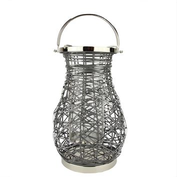 "16.25"" Modern Gray Decorative Woven Iron Pillar Candle Lantern with Glass Hurricane"