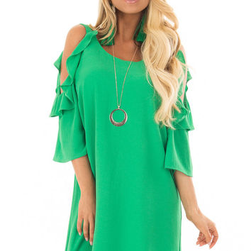 Kelly Green Cold Shoulder Dress with Ruffle Detail