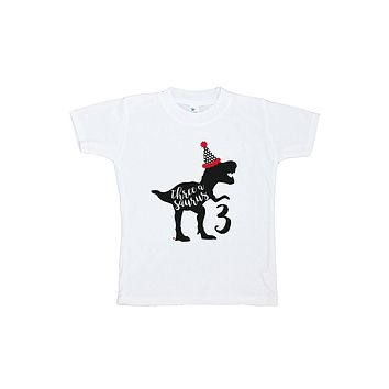 7 ate 9 Apparel Three Third Birthday Dinosaur T-shirt
