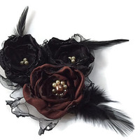 Wedding Hair Flowers, Black and Brown Flowers with tulle and feathers, Bridal Sash, Maternity Sash