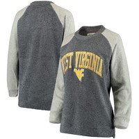 Women's Pressbox Navy West Virginia Mountaineers Heidi Comfy Terry Raglan Crew Sweater