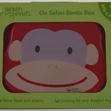 Green Sprouts On Safari Bento Box Red Monkey Store Food Snack Lunchbox Bowl Tray