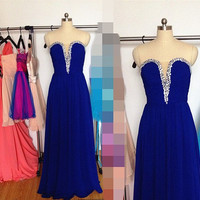 Long Real Blue Prom Dress, Chiffon Sweetheart Formal Dresses, Beaded V-neck Evening Wedding Party Dresses 2015