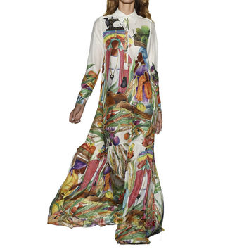 High Quality Newest Fashion Runway Maxi Dress Women's Long Sleeve Retro Art Printed Designer Long Dress Plus size S-XXL