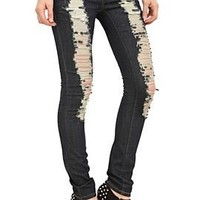 ChiQle Dark Wash Distressed Skinny Jeans - 700003