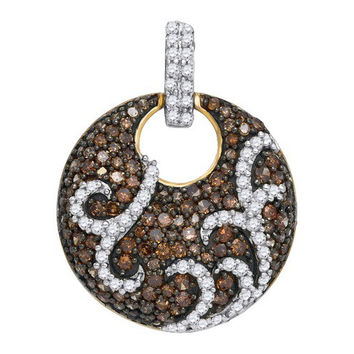 Cognac Diamond Fashion Pendant in 10k Gold 1.15 ctw