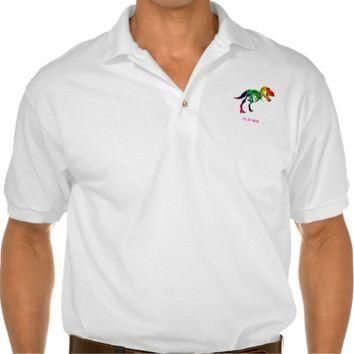 Rainbow T Rex Funny Fossil With Your Name Polo Shirt