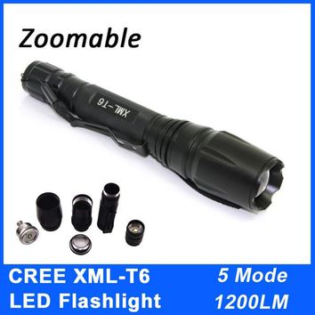Zoomable CREE XML T6 LED 1200LM 5 Mode Waterproof LED Flashlight Focus Torches Outdoor Camping Hunting Riding Flashlight