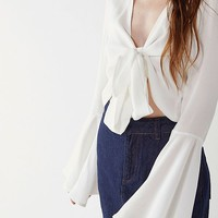 4SI3NNA Peyton Tie-Front Top | Urban Outfitters