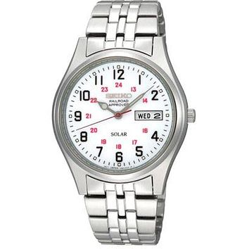 Seiko Solar Mens Watch - White Dial - Stainless - Railroad Approved - Day-Date