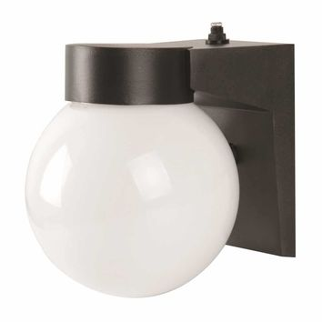 Led Exterior Wall Sconce With Photo Cell, White Acrylic Globe, 7-1-2 In., Black, Uses (1) 9-watt Led Integrated Panel
