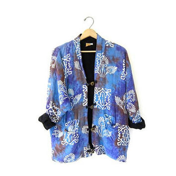 Vintage Batik jacket. Ethnic print cotton jacket. Slouchy blue purple pocket coat. Bali tribal jacket. Small Medium Large XL