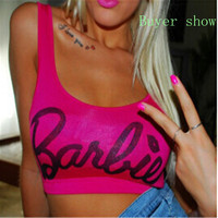 beyonce style Women Clothing Blusa Beach Crop Top Letter Print Barbie Short Mini  Fitness Tank Tops women sex top hipster F10957