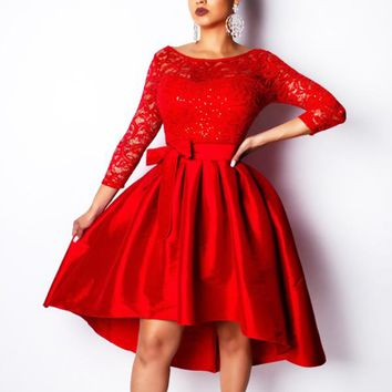 Fashion New Solid Color Lace Long Sleeve Dress Women Red