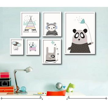 Cartoon Kawaii Animal Bear Printed Oil Painting Wall Art Decal Wall Decorative Pictures For Livingroom Kids Baby Room Decoration