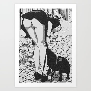 Good Doggie - glamour blonde girl caught upskirt, hot erotic artwork, woman body beauty, kinky art Art Print by Peter Reiss