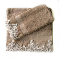 Decorative hand towels Set of 2, Embellished with Lace towels,Christmas Decorative Kitchen towel set, Gift home owners, Camel bathroom decor