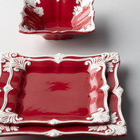 "12-Piece Red Square ""Baroque"" Dinnerware Service - Horchow"