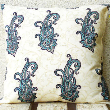 Paisley Pillow Covers - Blue Paisleys Hand Printed on Cream Background - 16x16 - 1 pair