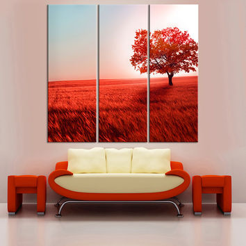 No Frame Red Tree Oil Painting Posters Landscape Cuadros Decoration Canvas Art Wall Picture for Living Room Home Decor 3 Pieces