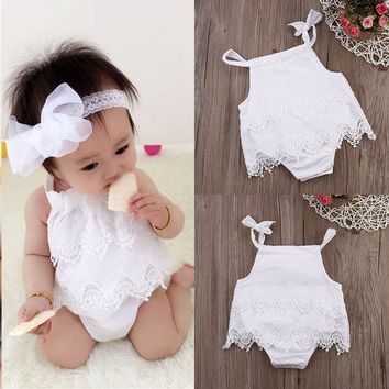 2016 Sleeveless Baby Girl White Infant Romper Cotton Lace Clothing Jumpsuit Outfit Birthday Party Clothes