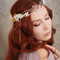 Ethereal flower tiara, ivory floral headdress, wedding hair accessories, fairy circlet - Lothiriel