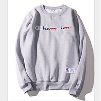 Champion letter embroidery sweater tide men and women Harajuku BF style couple plus cashmere coat  Gray