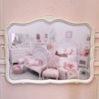 Pretty White Shell Crested Curvy White Dresser Mirror