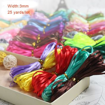 3mm 25 yards/roll Cheap Satin Ribbon For Arts Crafts & Sewing Wedding Party Decoration Gift Wrap Handmade DIY Material