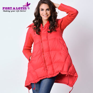 PORT&LOTUS Women Down Coat Hooded Winter Parka Womens Jackets Zippers Anorak Female Coats Women's Clothing BY001 12086