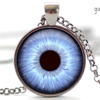 Blue Eye Necklace, Third Eye Jewelry, Evil Eye Charm, Blue Eyeball Pendant (926)