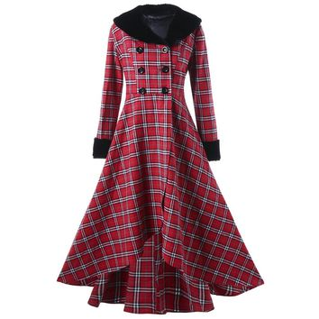 Trendy Wipalo Fashion Brand Winter Plus Size Double Breasted Checked Plaid Swing Women Coat Large Size Oversize Jackets XL-5XL AT_94_13
