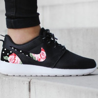 Nike Roshe Run One Black with Custom Black White Dot Pink Rose Floral Print