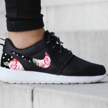 d87450624621b ... shopping nike roshe run one black with custom black white dot pink rose  floral print 2a53c