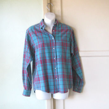 Vintage Tealy Turquoise Plaid Flannel Shirt; Women's Med-Lg - Turquoise Tailored Flannel Shirt - Pretty Blue Shirt -Masculine/Feminine