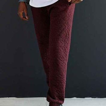 Lifetime Collective Sherpa Quilted Jogger Pant- Maroon