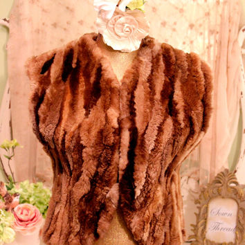 1970s Mink Vest - Jaques Saint Laurent - Couture Hippie Vest - Sheared Mink Waistcoat - Cowgirl Boho Chic - Brown Fur Clothes - Size Medium