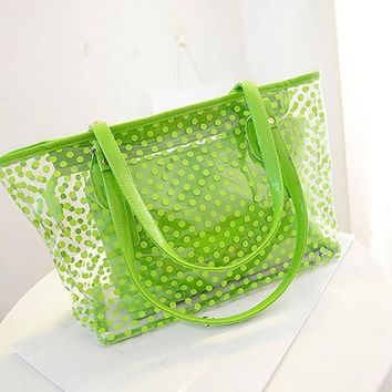 Women Summer Beach dots Bag PVC Transparent Composite Bags Set Shoulder Bag with Purse Waterproof Beach Tote Casual Bag
