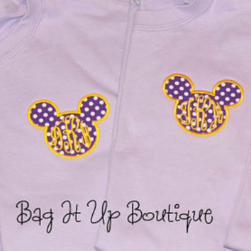 Monogrammed Mickey T-shirt Embroidered Applique Mickey Ears Disney Tshirt in Bright Colors Short Sleeve Preppy Tshirt