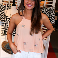 Jeweled Crop Top {Light Pink}
