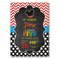 Mickey Mouse Oh Toodles Chalkboard Chevron Kid Birthday Invitation Party Design