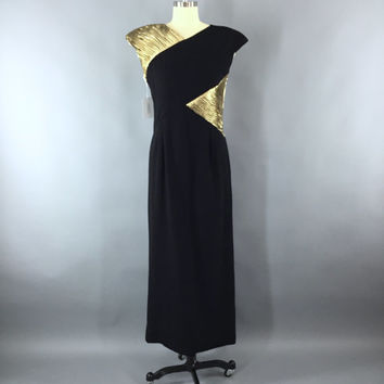 Vintage Valentino Dress / 1980s Cocktail Dress / Evening Dress / 80s Maxi Dress / Grecian Goddes / LBD Gold Lame / Deadstock / Italy